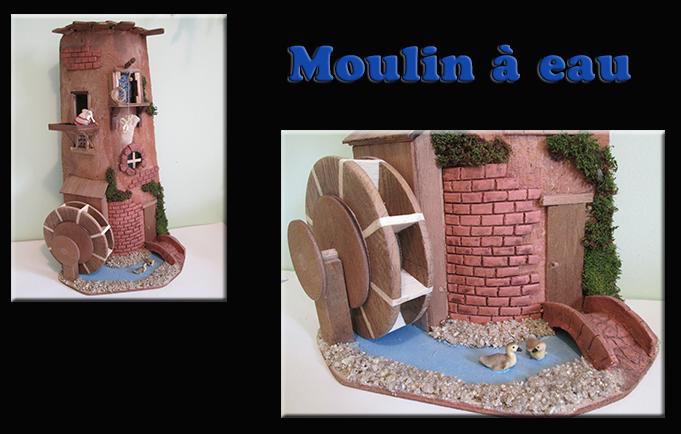 Maquette sur Tuile moulin à eau